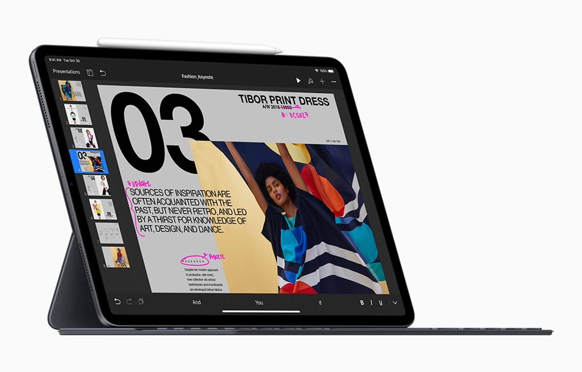 Smart iPad Folio with Apple Keyboard attached on top of new iPad Pro