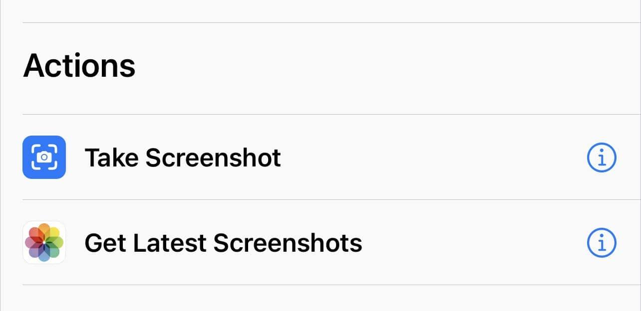 Screen capture action in shortcut