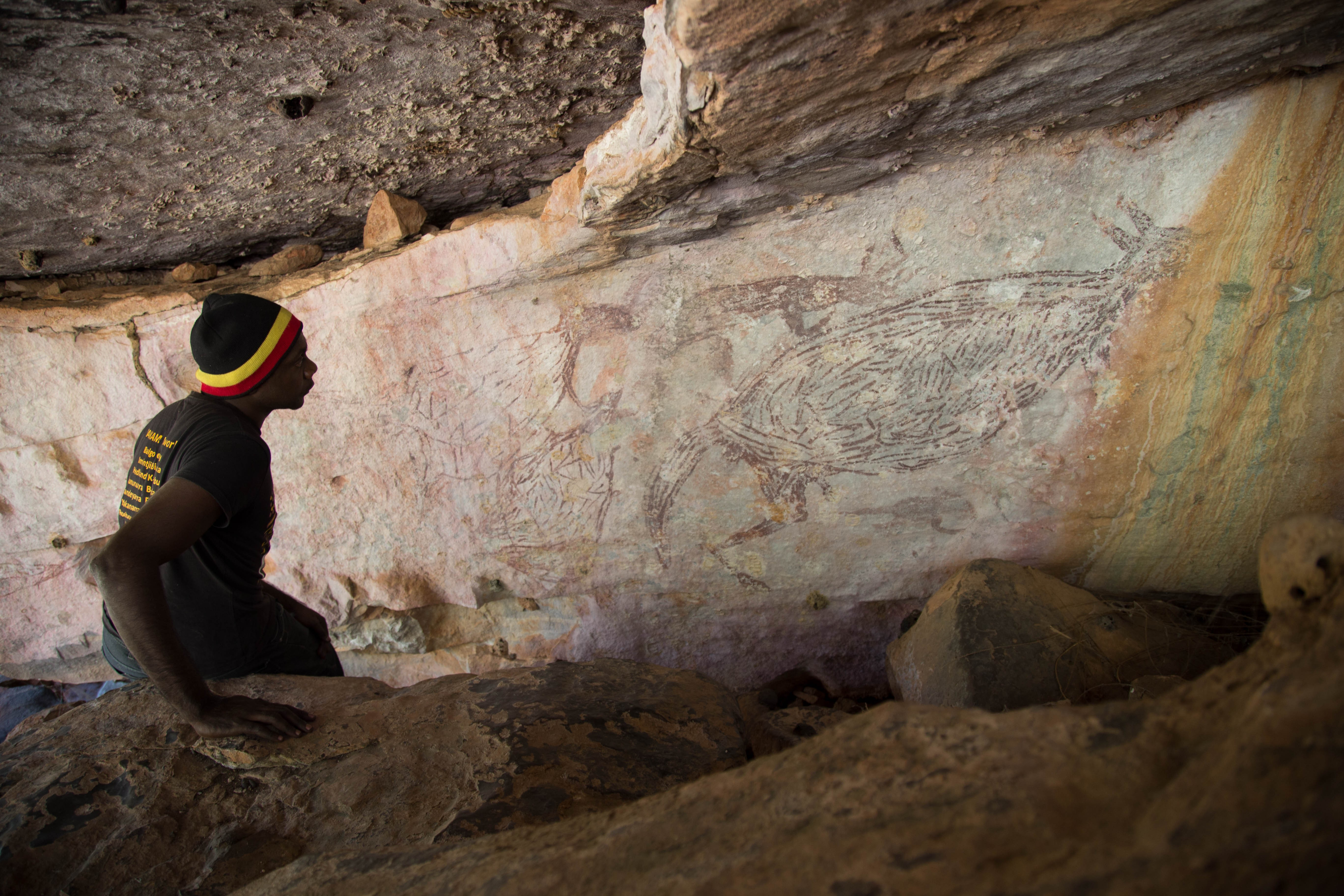 Australia's oldest rock painting is 17.3 thousand years old and is a kangaroo (Photo: Peter Veth / Tribal Corporation Balangarhra)