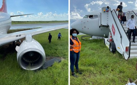 Boeing 737 ends with all wheels on grass at landing event