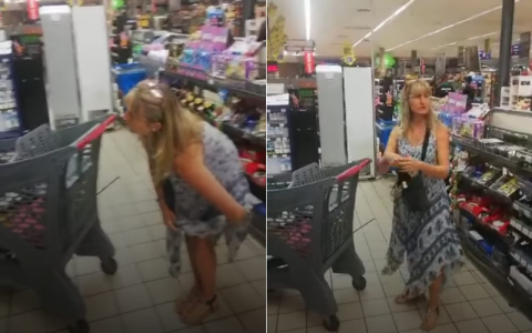 VIDEO |  Woman takes off panties in supermarket and wears mask against Kovid