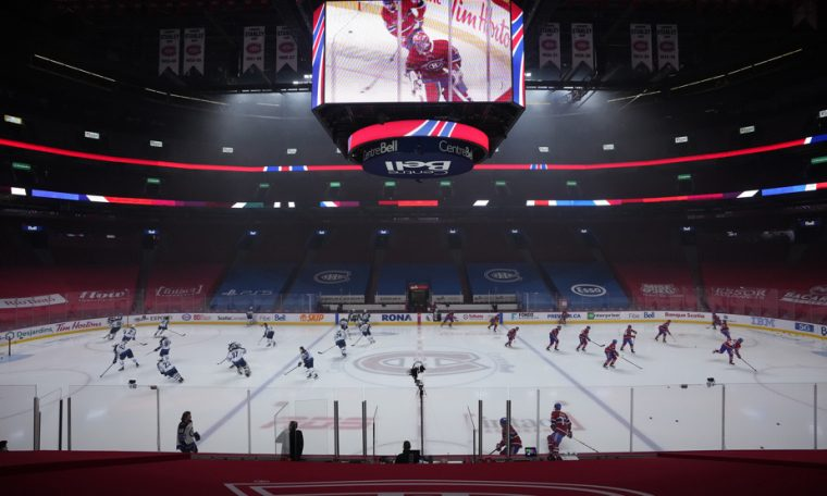 A cryptocurrency advertisement on ice at the Bell Center