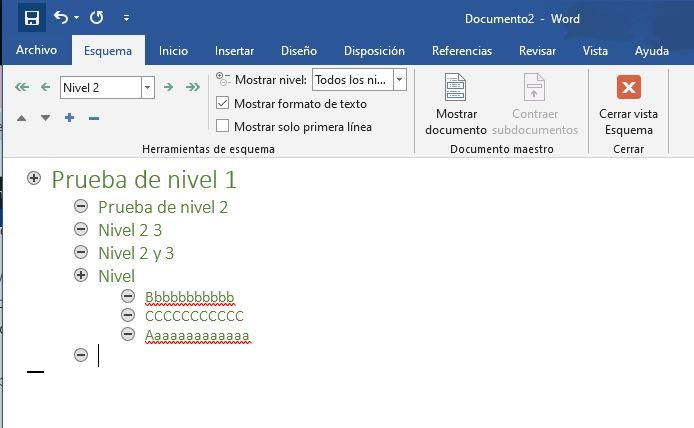 Outline in word