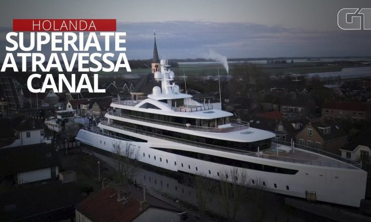 The drone captured the 94-meter 'Superarat' across the small channel in Holland;  See VIDEO |  world