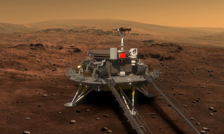 The Chinese spacecraft landed on Mars;  See the exact moment