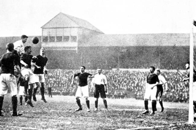 England plays Scotland in football at Bramall Lane in Sheffield, 1903.  for Vivian Woodward