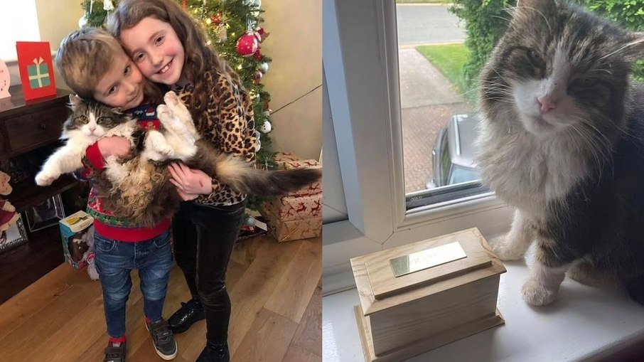 Rachel and Frankie's two children next to an urn containing the ashes of an unidentified kitten