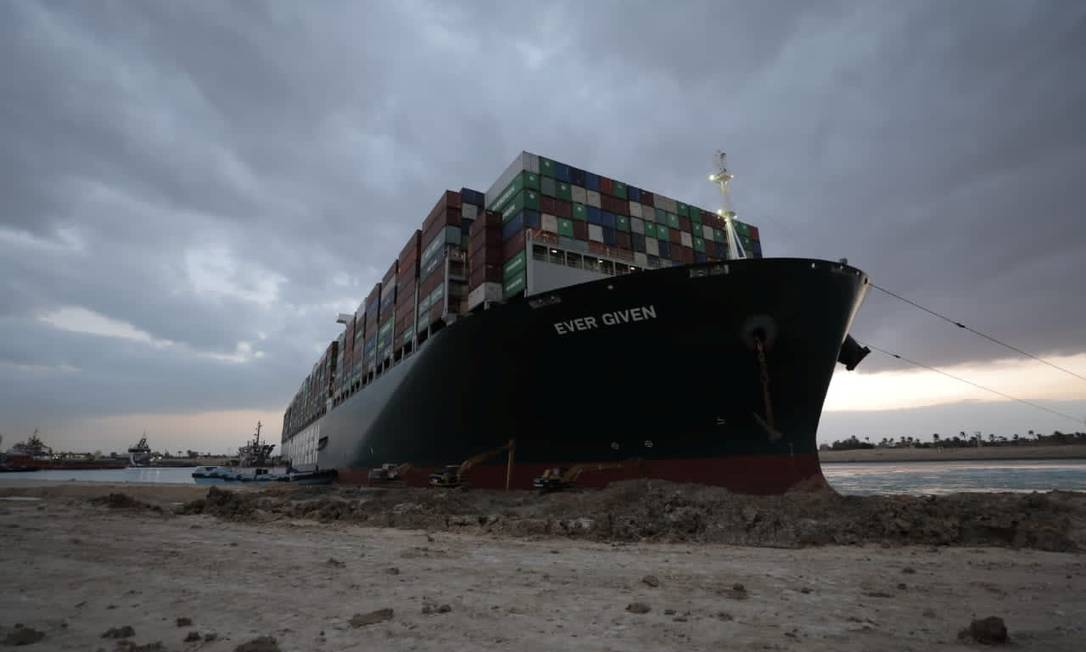 The stranded ship Ever Given, one of the world's largest container ships, is seen after circling the Suez Canal, Egypt Photo: Handout / VIA REUTERS