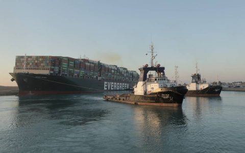 Tugboats Line Up Huge Ever Given on the Suez Canal.  According to the Suez Canal Authority (SCA), the megaship partially floated and 80%