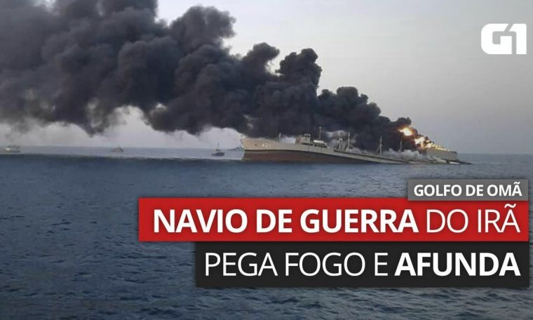 Iran's largest warship caught fire and sank in the Gulf of Oman.  world