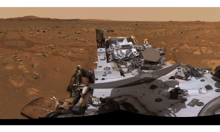 Rover Perseverance Ingenuity helicopter takes a 360 view of flight location