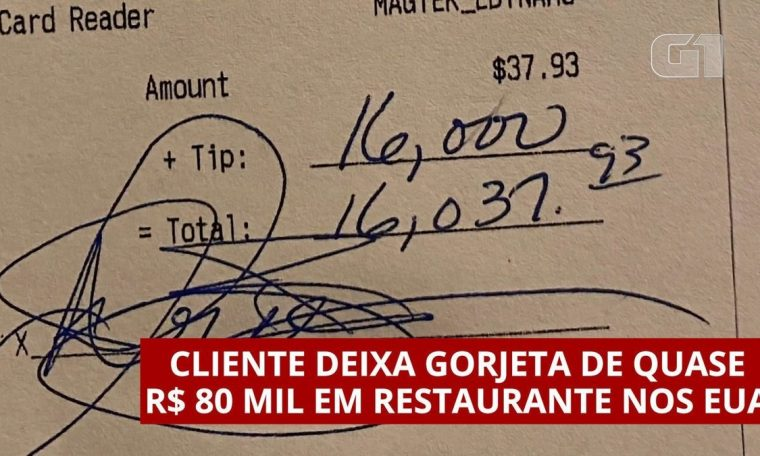 The customer left a tip of about $80 thousand in a US restaurant.  world
