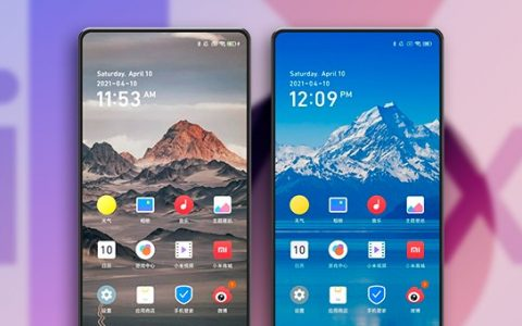 Xiaomi Mi Mix 4 showing the front camera under the screen and MIUI 13