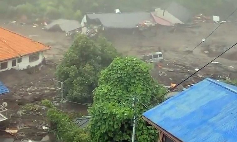 At least 19 people missing in Japan landslide;  Watch a video showing the strength of rain in the country.  world