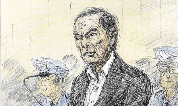 Nobutoshi Katsuyama's sketch shows former Nissan executive Carlos Ghosn during a January hearing in Tokyo District Court to hear the cause of his prolonged detention Photo: KYODO / REUTERS