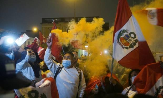 Supporters of Peruvian presidential candidate Keiko Fujimori protest the impending victory of leftist teacher Pedro Castillo in Lima, Peru Photo: Alessandro CINQUE / REUTERS