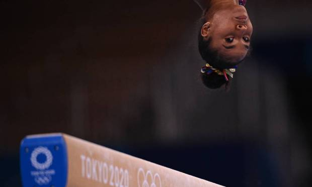 Jordan Chile from the United States during a crossbar test of women's artistic gymnastics at the Ariake Gymnastics Center in Tokyo Photo: Martin Burroughs / AFP