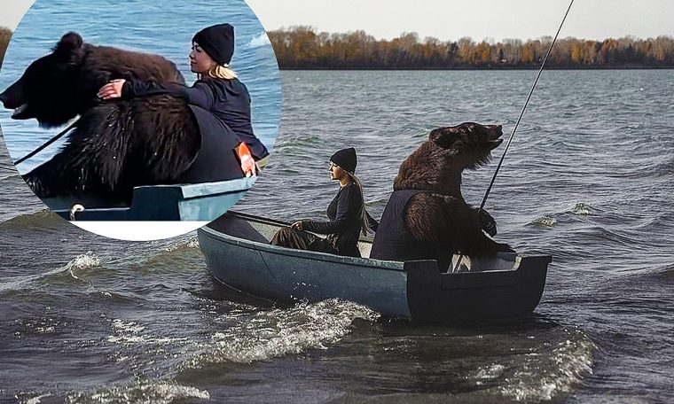 Giant bear is filmed fishing on a boat with a roller coaster and impacts the web