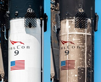 B1060 before its first launch in 2020 compared to the current state of the rocket