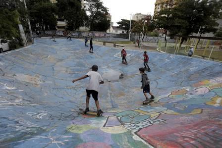 Young skaters at the first skate park in Latin America in Nova Iguaçu, Baxada Fluminense