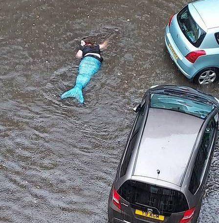 'Mermaid' floating in Glasgow wetlands