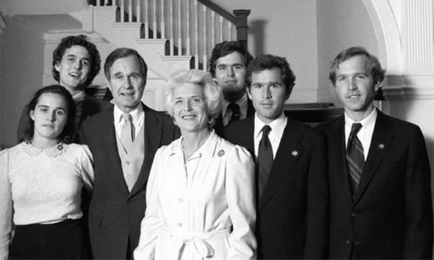 The family at Inauguration Day, January 20, 1981, at the Vice President's Mansion, Washington.  From left: Douro, Marvin, George HW, Barbara, Jeb, George W and Neil Photo: George Bush Presidential Library