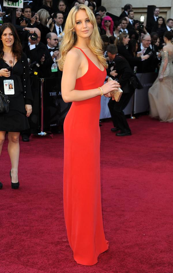 actress jennifer lawrence in red dress