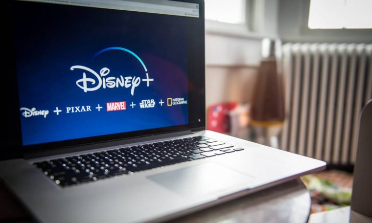 The Disney+ logo appears on the laptop. Photo: Tiffany Hagler-Gierd / Bloomberg