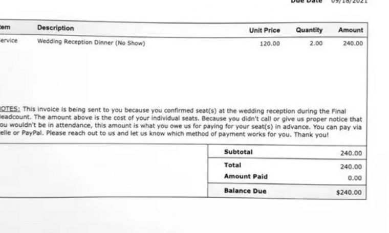 The couple sent an invoice of R$1,250 to guests who did not attend the wedding.  Economy