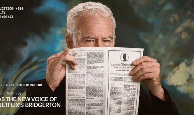 "Cinebuzz · John McEnroe as the narrator of ""Bridgeton"" from ""I Never""?  understand the story"