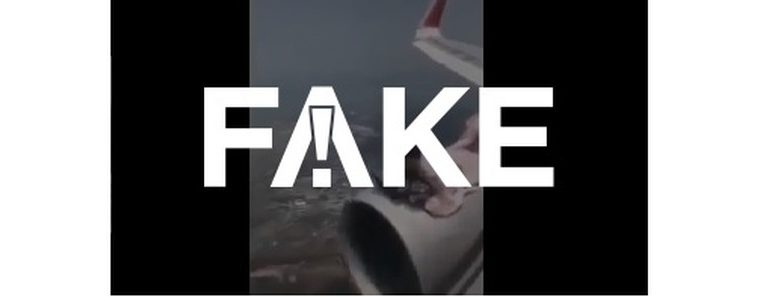 #FAKE Video shows a man lying on an airplane turbine mid-flight fleeing Afghanistan after the Taliban came to power.  fact or fake