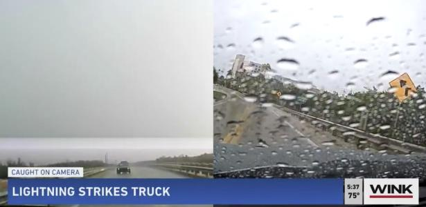 Lightning strikes a moving pickup truck in Florida and is recorded on video