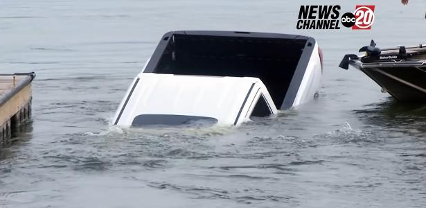 Live news link.  During the pickup truck drowned in the lake