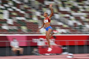 Yulimar Rojas of Venezuela attends the women's triple jump final during the Tokyo 2020 Olympic Games on August 1, 2021 at the Olympic Stadium in Tokyo.  (Photo: Lady Isakovich / AFP)