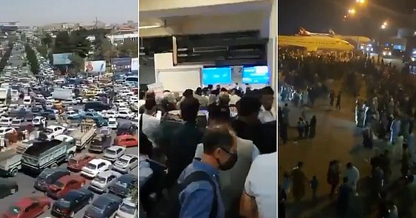 Video shows desperate crowd at Kabul airport after Taliban attack