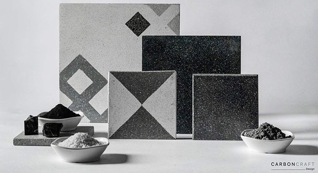 "tiles made of ""Pollution"" The Empresa Indiana Carbon Craft Design"