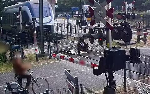 Woman narrowly escaped after being hit by train