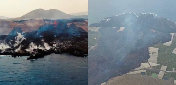 Lava do vulcão Cumbre Vieja delta Size 500 m out to sea;  Video