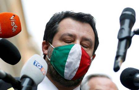 Líder da Liga, Matteo Salvini, em Roma