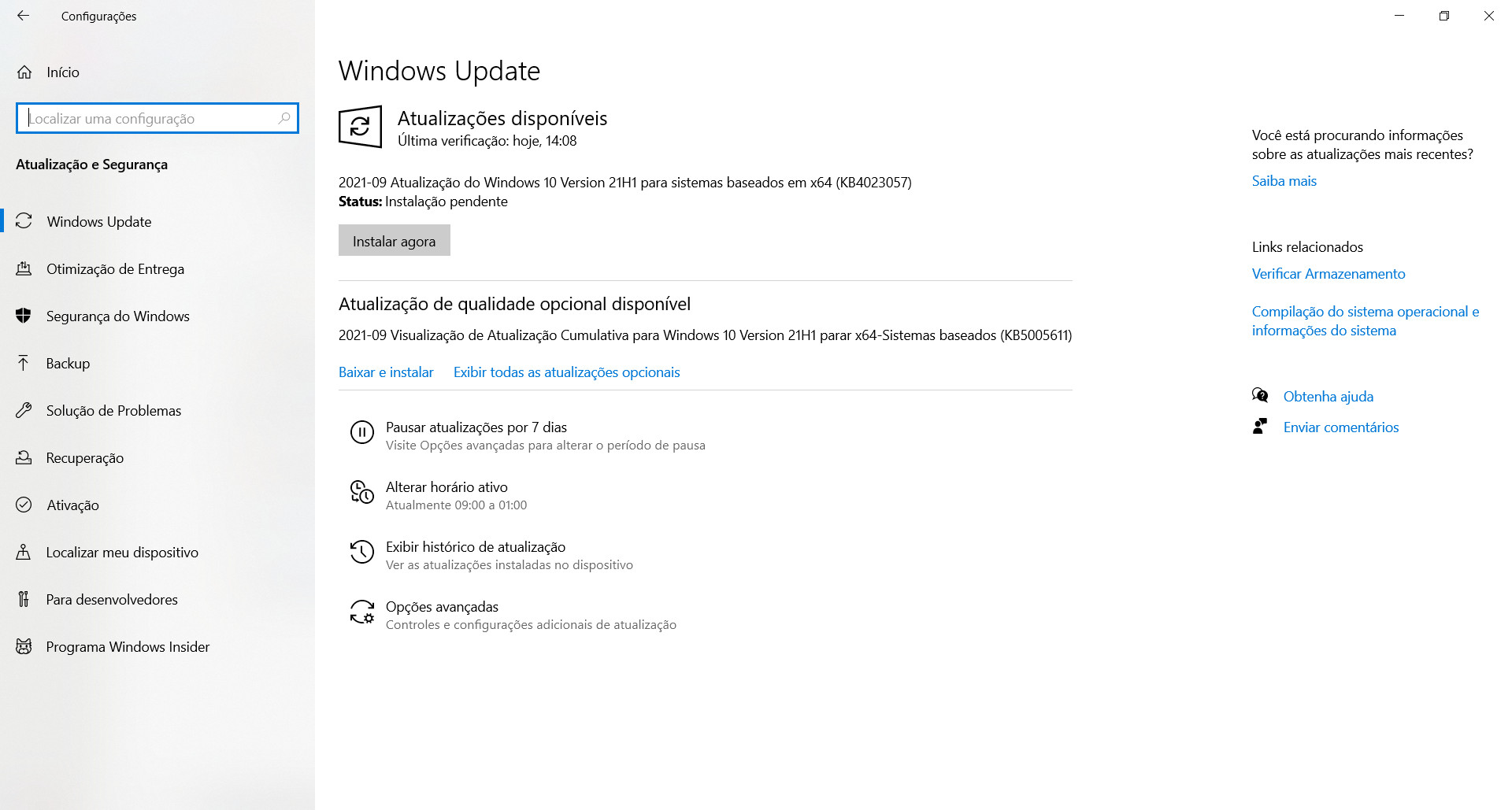Patch KB5005611 must be installed manually.  (Source: Windows 10 / Reproduction)